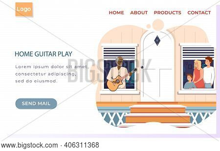 Website Home Guitar Play. Fashionable Elderly Man Sings To Family. People On Balcony Listen To Music