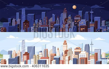 Cityscape At Day And Night Time. City Panoramic View With Roofs Of Skyscrapers Buildings At Midday A