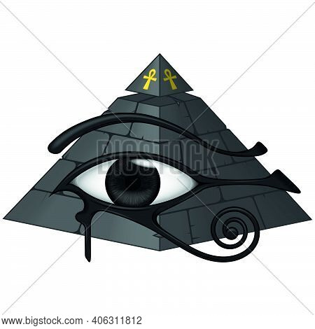 Vector Design Of Ancient Egyptian Pyramid With 3d Eye Of Horus, Ancient Egyptian Symbols, Eye Of Hor
