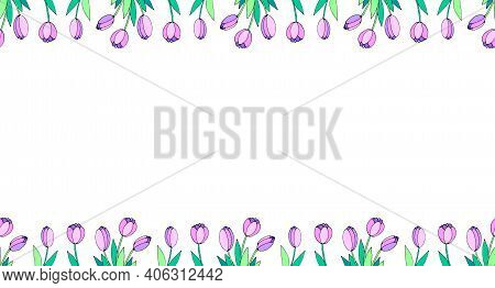 Spring Flowers. Frame From Pink Tulips. Vector Doodle Hand Drawn Isolated. Horizontal Top And Bottom