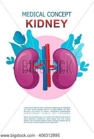 Conceptual Medical Vertical Poster On White Background, Icon Of Internal Organ Surrounded By Leaves