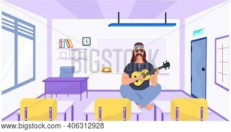Male Bard Sits With Ukulele. Person Creates Music On Guitar At School. Musician Playing Strings On M