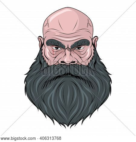 Biker. Character. Bald Man. Male Face. Hipster. Person With The Scar. Bearded Man. Male Head. Evil P