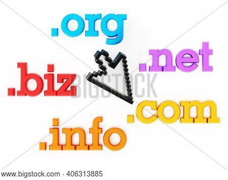 Domain Names And Cursor Isolated On A White Background. 3d Illustration.