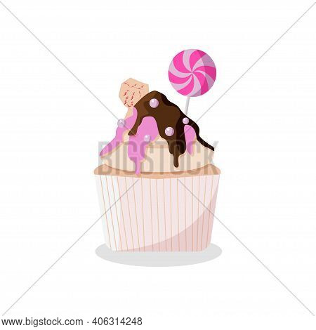 Delicious Cake In Chocolate Glaze With Sweet Dragees And Lollipop. Vector Illustration Isolated On W
