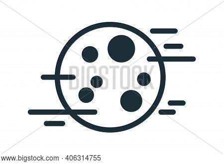 Simple Weather Icon With Full Moon With Craters In Foggy Sky. Symbol Of Fog At Night Time In Line Ar