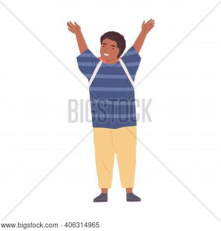 Positive Smiling Schoolboy With Hands Raised Up. Happy African American Boy Standing With School Bag