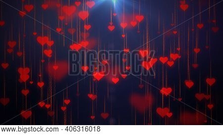 Multiple Red Love Hearts With Nice Glowing Light Effect, Sign And Symbol Of Love , Show Your Love Fo