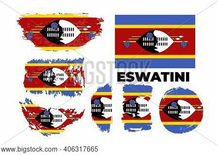 Grunge Style Brush Painted Eswatini Country Flag Illustration