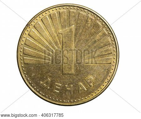 One Macedonian Denar Coin  Isolated On White Background
