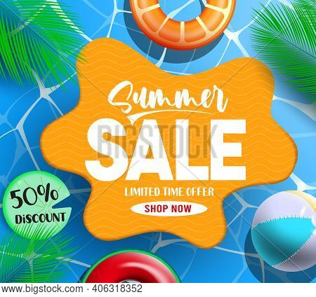 Summer Sale Vector Template Design. Summer Sale Text In Swimming Pool Background With Floater And Be