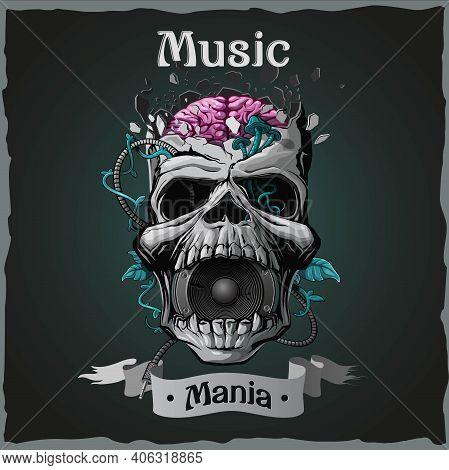 Skull. Music Mania. Vintage Dark T-shirt Design