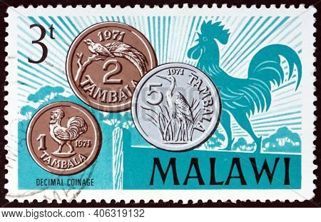 Malawi - Circa 1971: A Stamp Printed In Malawi Shows Decimal Coins, Introduction Of Decimal Currency
