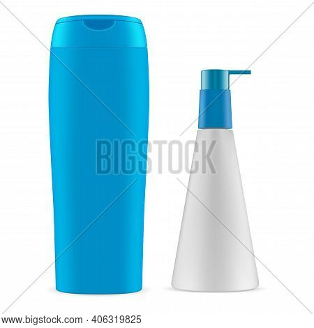 Cosmetic Bottle. Package Shampoo, Dispenser Container Blank. Soap Or Gel Product With Pump Dispenser