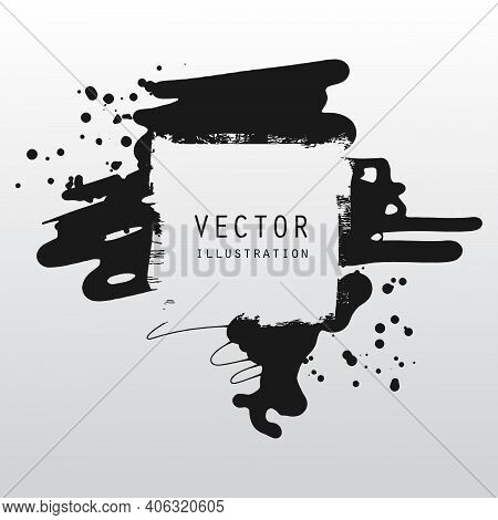 Vector Splats Splashes And Blobs Of Black Ink Paint In Different Shapes Drips Isolated On White