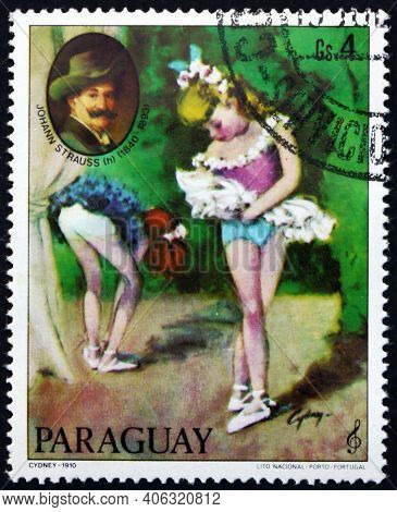Paraguay - Circa 1980: A Stamp Printed In Paraguay Shows Painting Of Young Ballerina By Cydney, And