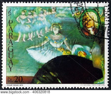 Paraguay - Circa 1980: A Stamp Printed In Paraguay Shows Painting Of Ballerina By Edgar Degas, And P