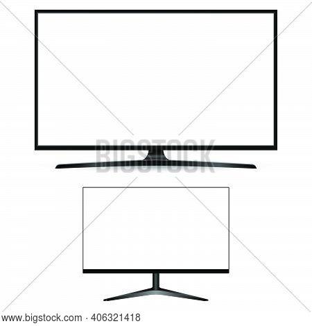 Computer Monitor Screen. Desctop Pc Display Vector Blank Modern Illustration. Lcd Tv Office Device,