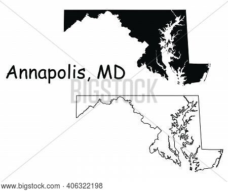 Maryland Md State Map Usa With Capital City Star At Annapolis. Black Silhouette And Outline Isolated