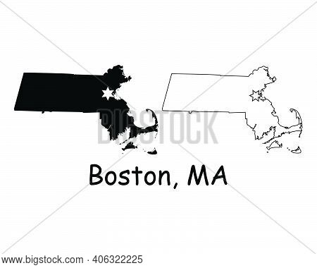 Massachusetts Ma State Map Usa With Capital City Star At Boston. Black Silhouette And Outline Isolat