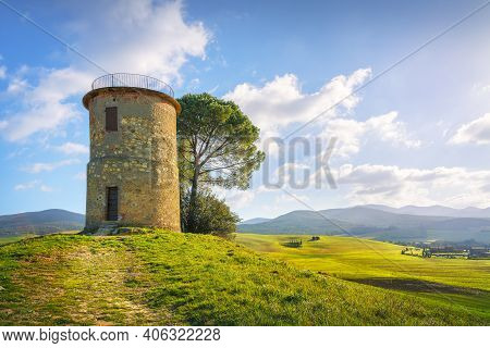 Tuscany, Maremma Countryside Landscape. Old Windmill And Trees On Top Of The Hill. Bibbona, Livorno,