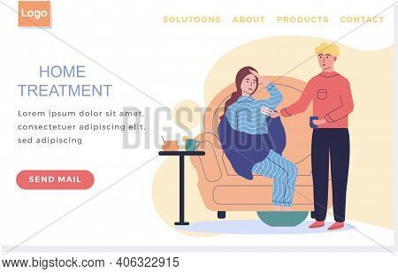 Landing Page Template. Home Treatment Concept. Guy Gives Girl Pill To Girl Suffering From Headache A