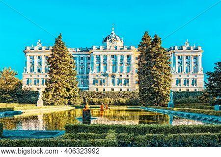 Sabatini Gardens (jardines De Sabatini) And Building Of  Royal P