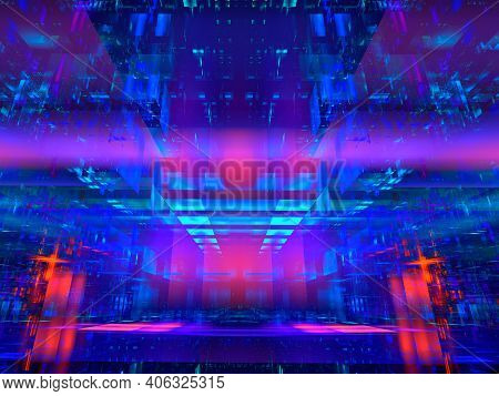 Fractal Background For Sci-fi Projects - Abstract Digitally Generated 3d Illustration