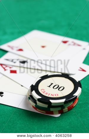 Casino Chips And Four Aces