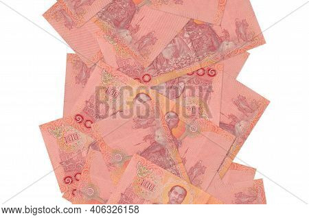 100 Thai Baht Bills Flying Down Isolated On White. Many Banknotes Falling With White Copy Space On L