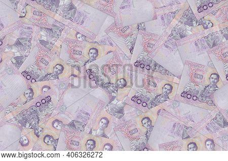 500 Thai Baht Bills Lies In Big Pile. Rich Life Conceptual Background. Big Amount Of Money