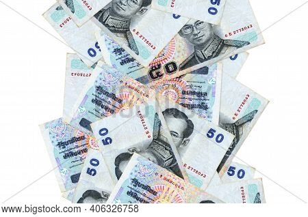 50 Thai Baht Bills Flying Down Isolated On White. Many Banknotes Falling With White Copy Space On Le