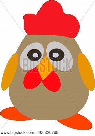 Cute Rooster With A Red Crest And Beak, Beautiful, Bird, Vector Illustration, Isolate On White Backg