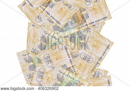 25 Egyptian Piastres Bills Flying Down Isolated On White. Many Banknotes Falling With White Copy Spa