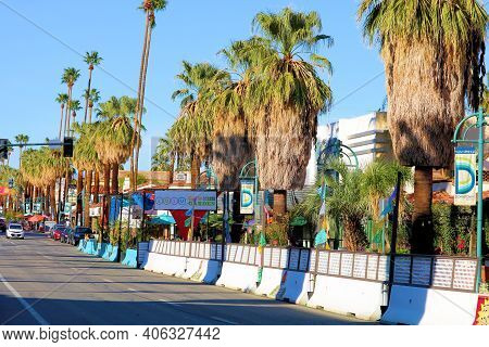 February 2, 2021 In Palm Springs, Ca:  Businesses Including Restaurants With Outdoor Dining Patios B