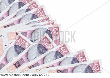 20 Croatian Kuna Bills Lies Isolated On White Background With Copy Space Stacked In Fan Close Up. Pa