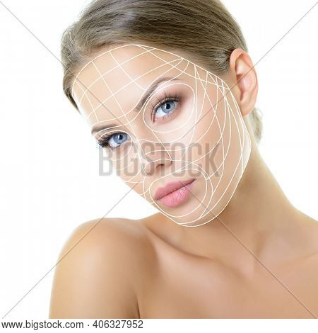 Grid of lines showing facial lifting effect on skin of beautiful young woman with healthy face and nice day makeup looking at camera, studio shot over white background