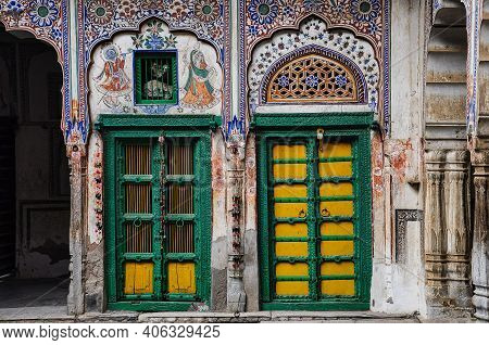 Haveli In Nawalgarh, Rajasthan In India. Haveli Are Characterized By Rich Western-style Decorations