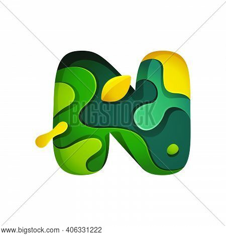 Paper Cut Letter N Logo. Layer Carving Style Effect Icon. Green Origami Element Perfect For Agricult