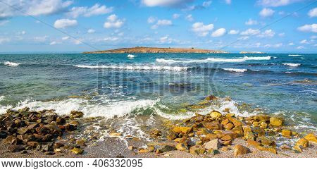 Seascape With Island In The Distance. Beautiful Landscape Of Bulgaria Near Sozopol. Waves Crashing R
