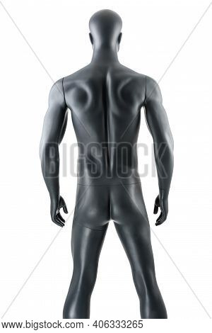 Male Gray Athletic Mannequin Doll Or Store Display Dummy Isolated.