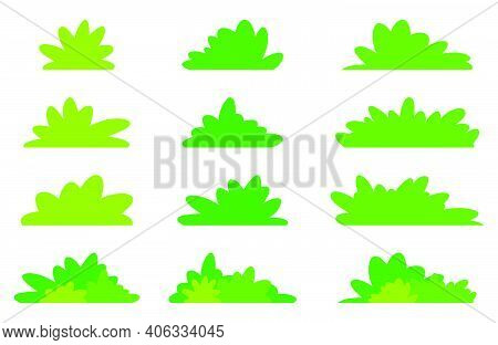 Simple Bush Set In Green Color. Flat Vector Design In Minimalistic Cartoon Style. Garden Bushes Coll