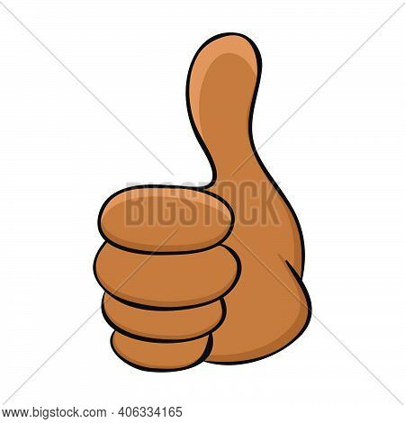 Thumb Up Icon With Dark Skin African Or Afro American Human Hand. Cartoon Symbol Of Ok Expression Or