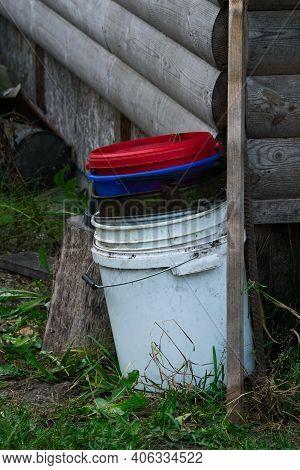 Pile Of Buckets. Bucket In Bucket. Old Buckets.