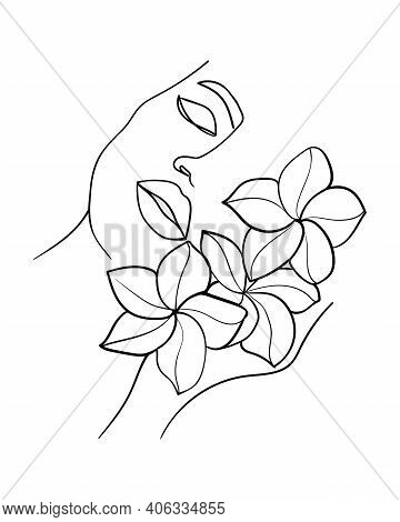 Portrait, Face With Flower. Simple, Minimalist Vector Illustration Of Beautiful Woman. Line Drawing