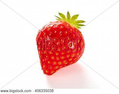 Strawberry Isolated On White. Ripe Fresh Organic Strawberry From Own Garden, Isolated On White Backg