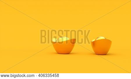 3d Chinese Golden Ingots. Yellow Color Background. Happy Chinese New Year. 3d Rendering Illustration
