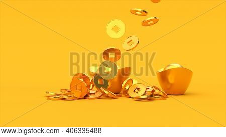 Falling Chinese Lucky Golden 3d Coins On The Ingots. Yellow Color Background. Happy Chinese New Year