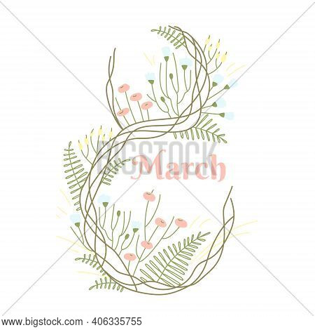 Simple Delicate Design Template With 8 March Greeting Card On White Background. Decorative Symbol Of