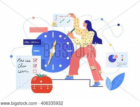 Time Planning Vector Illustration. Efficient And Productive Work Concept
